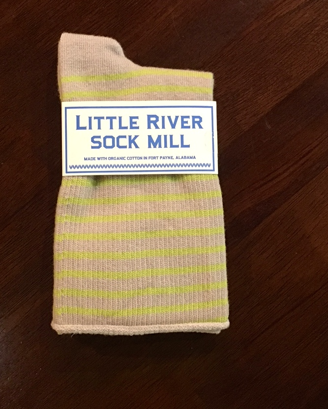 Little River Sock Mill Slouch Sock Striped - Flax/Green - Key North Boutique